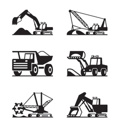 Heavy construction and minning equipment vector