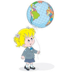 Schoolgirl with a globe - balloon vector