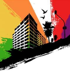 Rainbow city vector