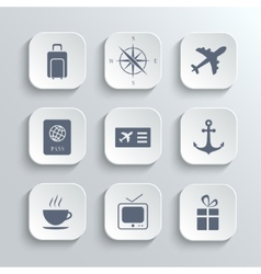 Travel icons set - white app buttons vector