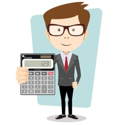 Businessman or accountant with a calculator vector