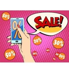 Discount online store smartphone app woman vector image