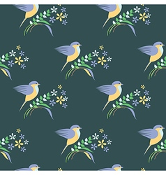 Seamless pattern with animals cute birds vector