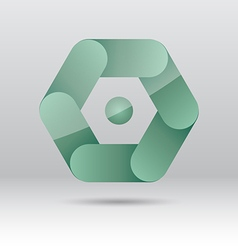 Abstract green hexagon icon vector