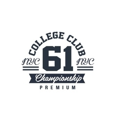 Classic college championship label vector