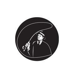 Mobster suit tie casting fly rod circle retro vector