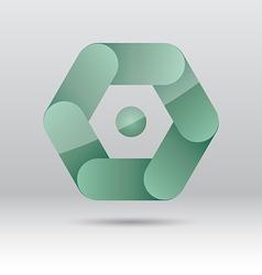 Abstract green hexagon icon vector