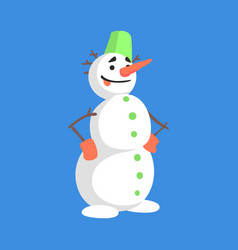 Alive classic three snowball snowman with green vector
