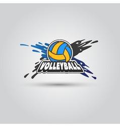 Ball symbol volleyball logo badge sport emblem vector
