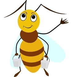 Bee cartoon smiling with two buckets vector image