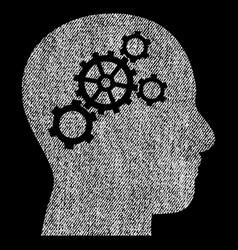 Brain gears fabric textured icon vector