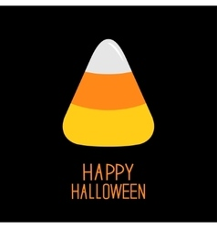 Candy corn happy halloween card flat design vector
