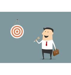 Cartoon flat businessman with dart and target vector image