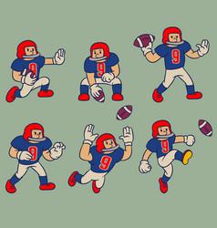 cartoon vintage character american football vector image