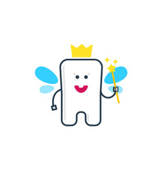 Cute tooth fairy with wings vector