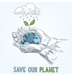 Earth globe in human hands planet protection care vector
