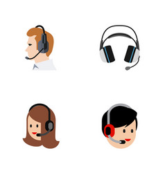 Flat center set of telemarketing earphone vector