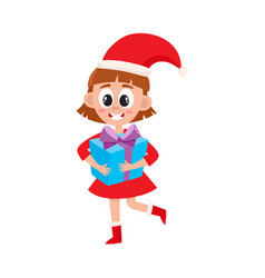 flat girl in christmas hat with present box vector image vector image