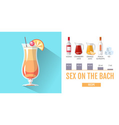 Flat style cocktail sex on the beach menu vector