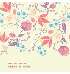 Fresh field flowers and leaves horizontal vector