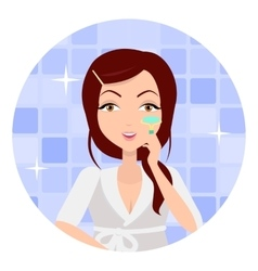 Girl making make up with eyelash curlers vector