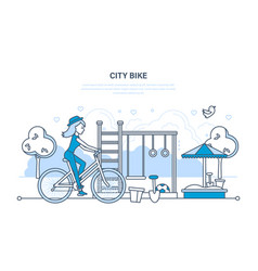 Girl rides in park and entertainment outside home vector