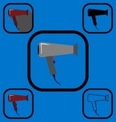 Hairdryer icons set vector