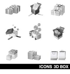 Icon set 3d box vector