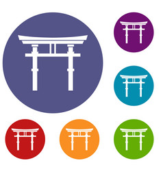 Japanese torii icons set vector