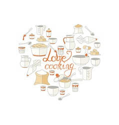 Kitchen utensils as heart with signature vector