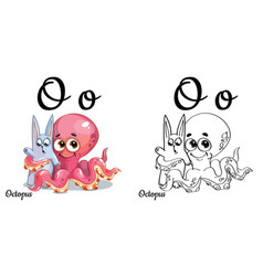 octopus alphabet letter o coloring page vector image