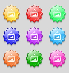 Picture icon sign symbol on nine wavy colourful vector