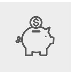 Piggy bank and dollar coin thin line icon vector