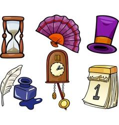 retro objects cartoon set vector image