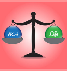 Scale of work life balance work and life crystal vector