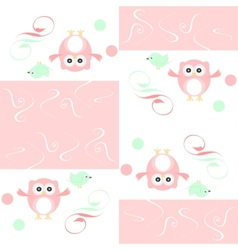 Seamless colourfull owl and birds pattern for kids vector image