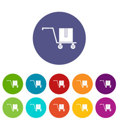 Shopping basket on wheels icons set flat vector