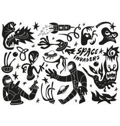 Space invaders aliens - doodles set part 2 vector