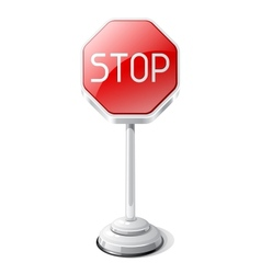 Stop road traffic sign isolated on white vector image