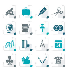 Stylized business and office objects icons vector