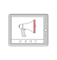 Tablet computer with megaphone vector