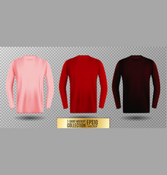 three shades of pink red and vinous long sleeve t vector image vector image