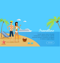 Travellers couple on tropical island vector