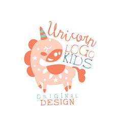 Unicorn kids logo original design baby shop label vector
