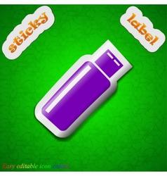 Usb flash drive icon sign symbol chic colored vector