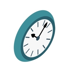 Wall clock with blue rim icon isometric 3d style vector