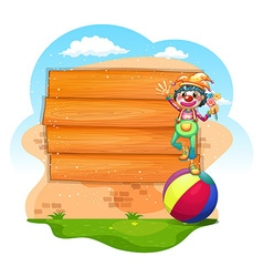 Wooden sign with clown standing on ball vector