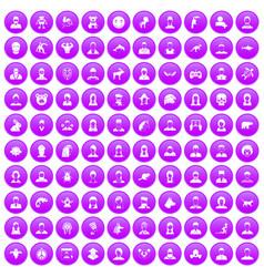 100 avatar icons set purple vector