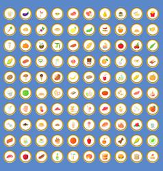 100 breakfast icons set cartoon vector