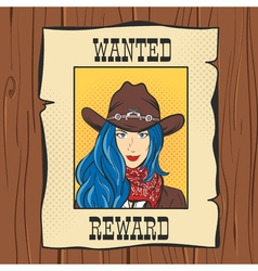 Wanted vintage western poster with young pretty vector